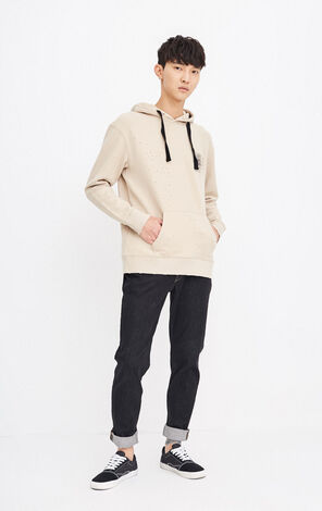 MLMR Men's Autumn 100% Cotton Loose Fit Rips Long Sleeves Printed Pullover Hoodie M 218333508