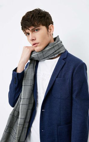 JackJones Men's Woolen Plaid Scarf |218188501