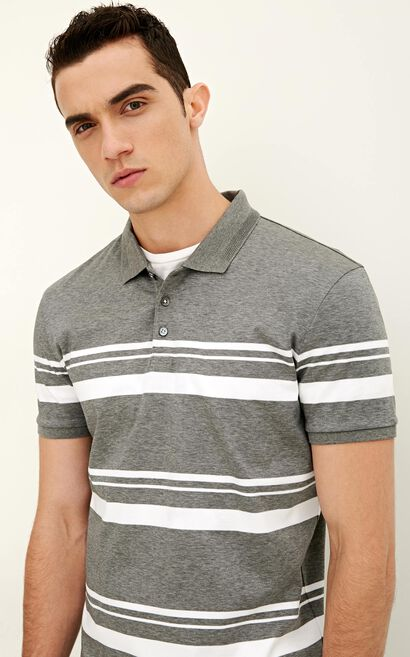 JackJones Men's Spring Regular Fit Striped Turn-down Collar Short-sleeved T-shirt|217106514, Grey, large
