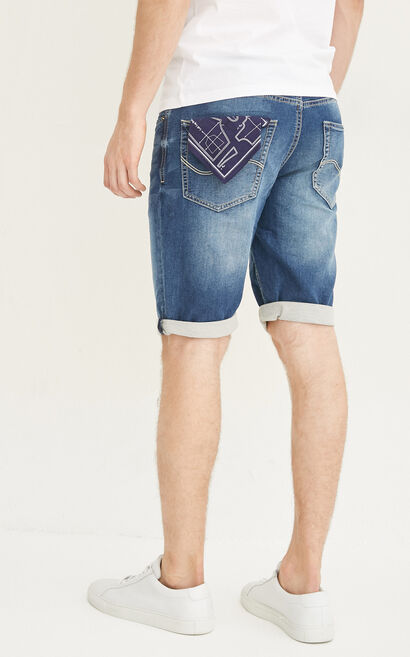 JackJones Men's Summer Lycra Stretch Denim Shorts O|217243503, Blue, large