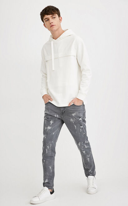 EXP-JI RAY CROPPED GREY PAINT ACID JEANS, Black, large