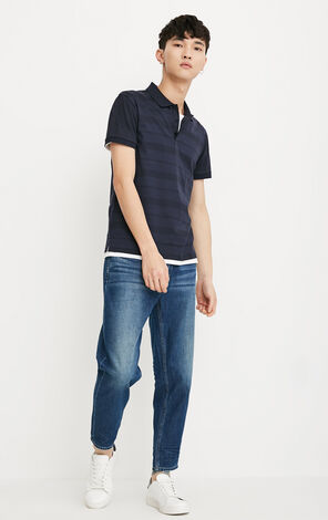JackJones Men's Summer 100% Cotton Slim Fit Striped Turn-down Collar Short-sleeved T-shirt E|218206510