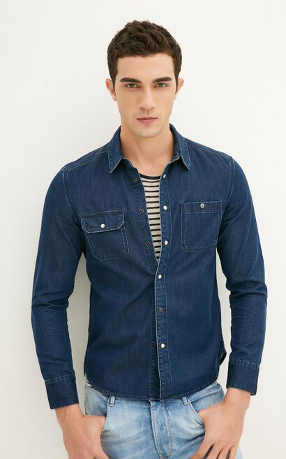 JackJones Men's Spring Slim Fit Cotton Pointed Collar Long-sleeved Denim Shirt|217105519, Blue, large