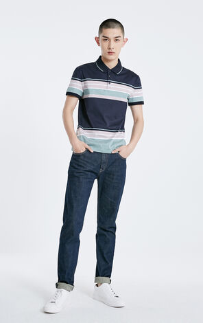 JackJones Men's Spring Striped Turn-down Collar Short-sleeved T-shirt E|219106509