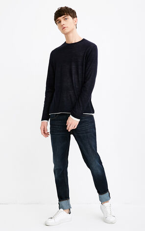 JACK JONES MEN'S FAKE TWO-PIECE ROUND NECKLINE LONG-SLEEVED PULLOVER KNIT | 218124506