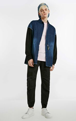 MLMR Men's Autumn Spliced Whiskering Wash Long-sleeved Denim Jacket M|218305564