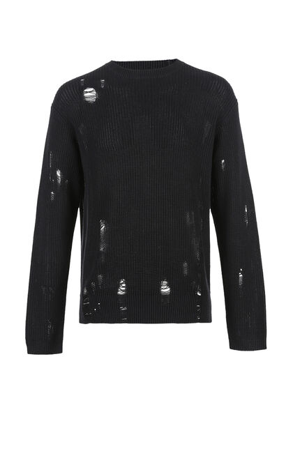 JackJones Men's Loose Fit 100% Cotton Ripped Round Neckline Knit Sweater M|218124504, Black, large