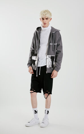 MLMR Men's Drawstring Dyed Abstract Pattern Letter Embroidery Hoodie M|219133502