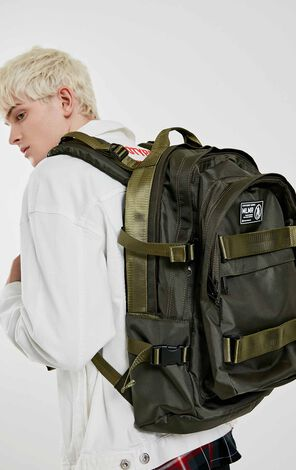 MLMR Men's Letter Print Multi-pocket Backpack M|219185507
