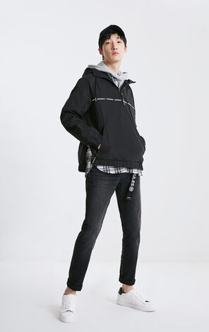 MLMR Men's Letter Print Spliced Two-tiered Hooded Jacket M|219121521