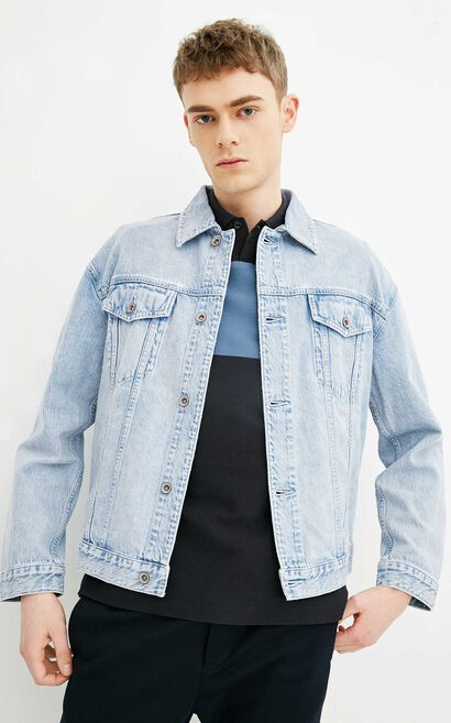 E KIM DENIM TRUCKER, Blue, large