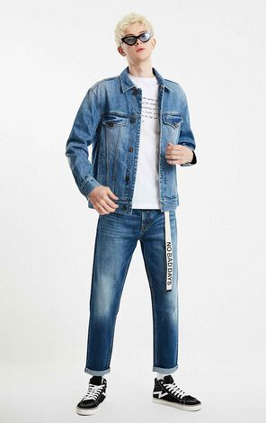 JackJones Men's Printed Denim Cotton Jacket E|219157533