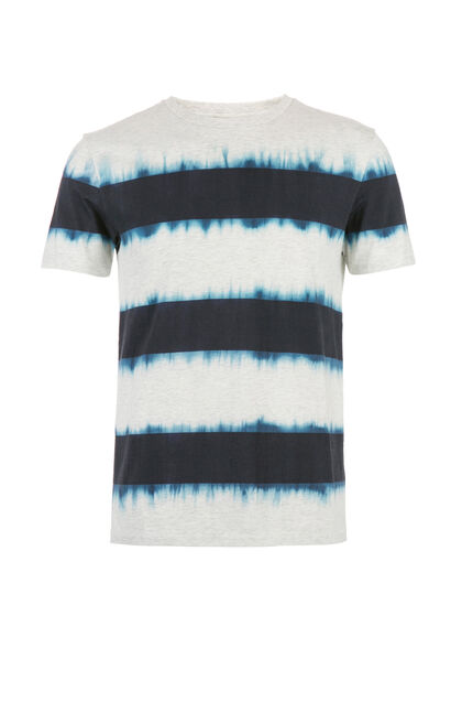JACK JONES MEN'S SUMMER 100% COTTON SLIM FIT STRIPED TIE-DYED ROUND NECKLINE SHORT-SLEEVED T-SHIRT | 217201518, Grey, large