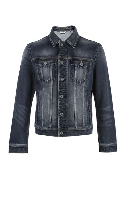 JC ANEMONE KNITTED TRUCKER JACKET, Blue, large