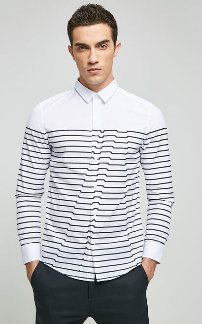 JackJones Men's 100% Cotton Geometrical Stripe Print Regular Fit Pointed Collar Long-sleeved Shirt|217105508, White, large