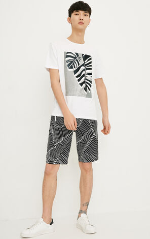 JACK JONES MEN'S SUMMER LINEN PLANT PRINT DRAWSTRING ZIPPED CASUAL SHORTS | 218215531