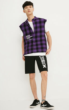 MLMR Men's Stand-up Collar Plaid Letter Print Sleeveless Straight Shirt M|218204506