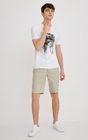 JACK JONES MEN'S SPRING 100% COTTON LOOSE FIT ZIPPED SHORTS | 218215503