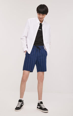 JackJones Men's Spring Cotton Loose Fit Striped Denim Shorts|219115520