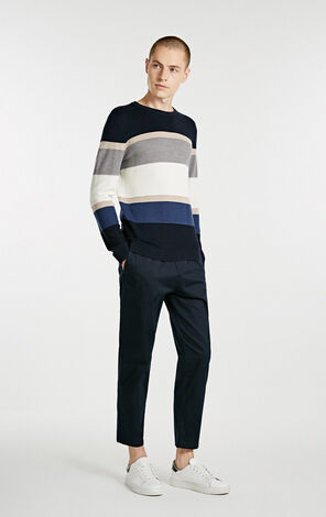 JackJones Men's Autumn Striped Round Neckline Sweater Knit E| 218324516