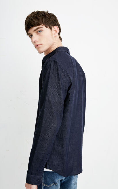 E TARE SHIRT L/S(REGULAR FIT), Dark blue, large