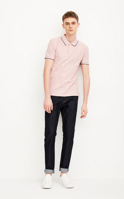 JACK JONES MEN'S WEB SOLID SHORT-SLEEVED POLO SHIRT (SLIM FIT) | 218106501, Pink, large