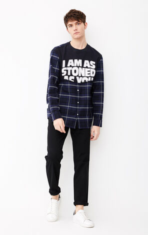 MLMR Men's Fake Two Pieces Loose Fit Long-sleeved Round Neckline Plaid Shirt M|218105513