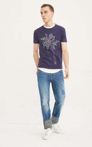 JackJones Men's Summer 100% Cotton Slim Fit Embroidered Plants Short-sleeved T-shirt O|217201545
