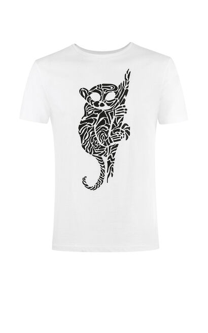 JACK JONES MEN'S SPRING & SUMMER SLIM FIT ANIMAL PRINT ROUND NECKLINE SHORT-SLEEVED T-SHIRT | 217201535, White, large