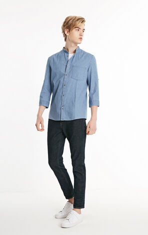 JackJones Men's Spring 3/4 Sleeves Denim Shirt E| 219231512