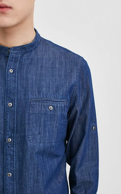 O SHAW DENIM SHIRT 3/4(SLIM FIT), Blue, large