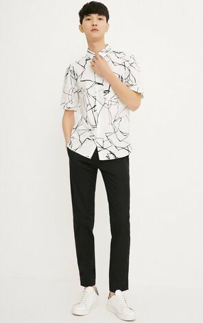 JACK JONES MEN'S 100% COTTON PRINT POINTED COLLAR SHORT-SLEEVED SHIRT | 218204521
