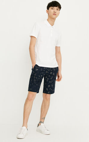 JACK JONES MEN'S 100% COTTON PATTERN STRAIGHT FIT KNEE-LENGTH SHORTS | 218215537
