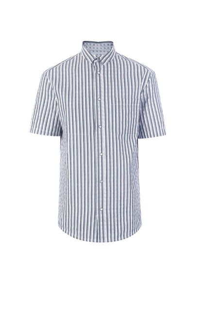 JackJones Summer men's pure fashion contrast color comfortable short-sleeved shirt W|219204502, White, large