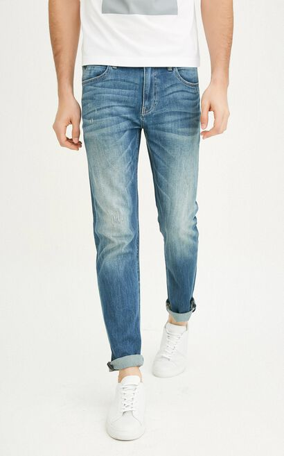 JackJones Men's Spring & Summer Lycra Distressed Jeans C|217132577, Blue, large