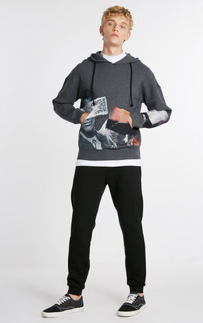 MLMR Men's Abstract Print Hooded Cotton Knit M|218325518