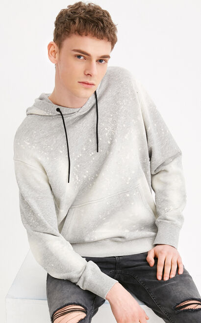 JackJones Men's 100% Cotton Ink Splash Rips Long-sleeved Hoodie C|218133529, Grey, large