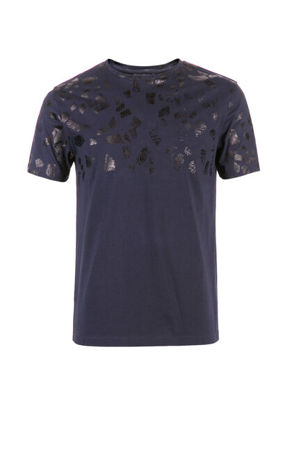 JACK JONES MEN'S SUMMER SLIM FIT PRINTED SHORT-SLEEVED T-SHIRT | 217201556, Blue, large