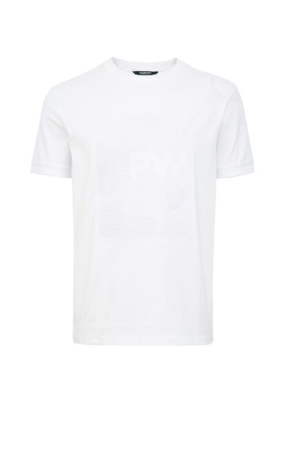 JackJones Men's Autumn 100% Cotton Round Neckline 3D Embroidery Short-sleeved T-shirt| 219301541, White, large