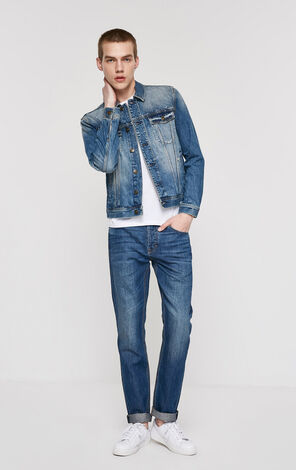 Whiskering Washed Frayed Jeans