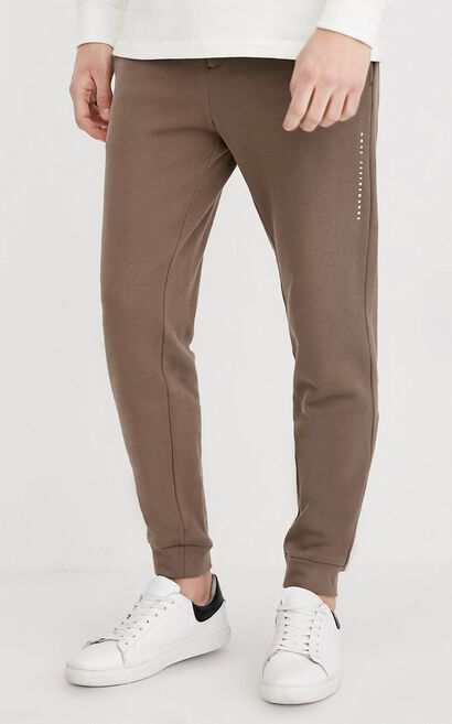 JackJones Men's Spring & Summer 100% Cotton Letter Print Casual Sweatpants| 218114562, Brown, large