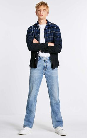 MLMR Men's 100% Cotton Loose Fit Gradient Checks Long-sleeved Washed Shirt M 218305568