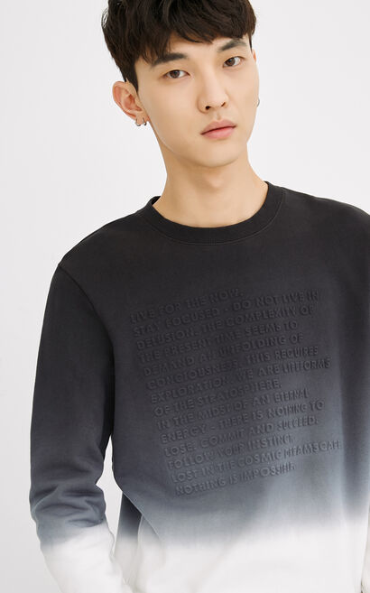 JackJones Men's 100% Cotton 3D Letters Gradient Round Neckline Long-sleeved Sweatshirt C|218133539, Black, large