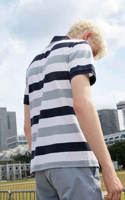 M STRIPE POLO-SHIRT S/S(SLIM FIT)-OR, Dark blue, large