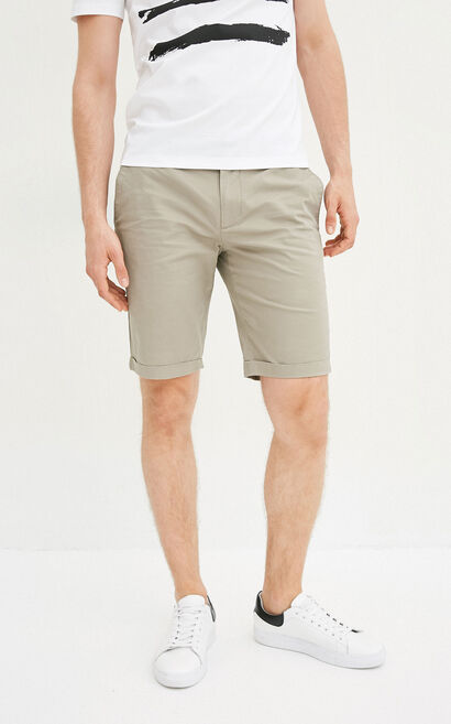 JackJones Men's Spring & Summer Lycra Fixed Roll-up Colored Casual Shorts E|217215512, Khaki, large