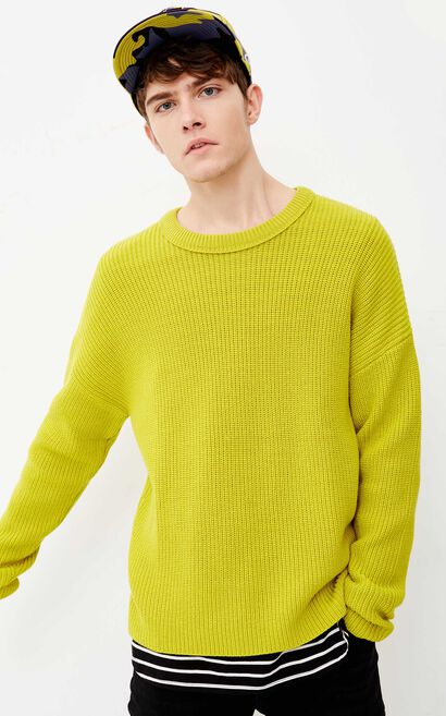 JACK JONES MEN'S PURE COLOR LOOSE FIT ROUND NECKLINE WOOL-BLEND KNITTED SWEATER | 218124503, Green, large