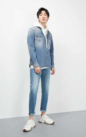 JackJones Men's spring cotton slim denim shirt J|219105541