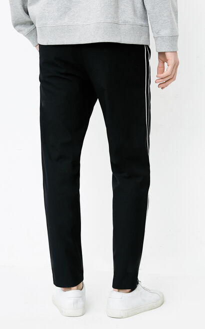 JackJones Men's Striped Tapered Casual Pants E|218114512, Black, large