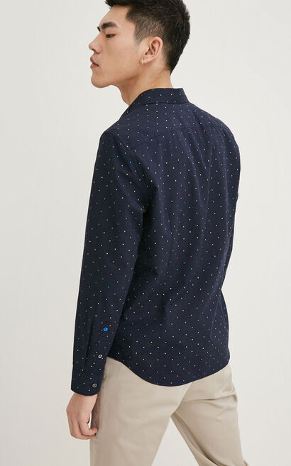 JackJones Men's Spring Colored Dots 100% Cotton Slim Fit Pointed Collar Long-sleeved Shirt|217105532, Blue, large