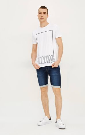 JackJones Men's Summer 100% Cotton Regular Fit Letter Print Short-sleeved T-shirt|217201547